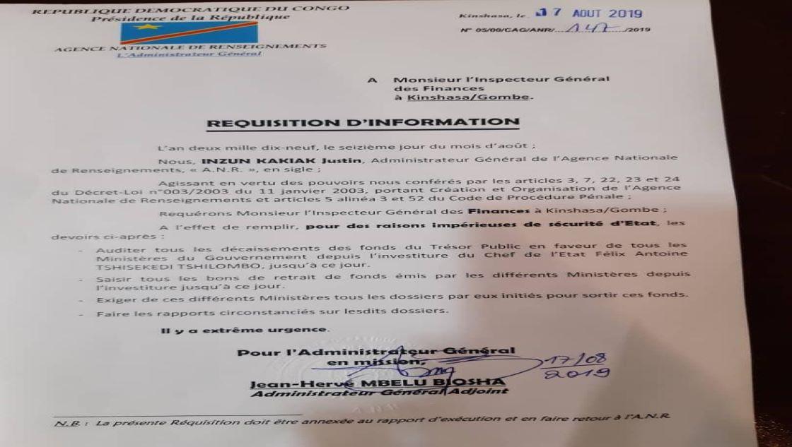 RDC: l'Agence nationale de renseignement (ANR) demande un audit sur les finances depuis l'investiture de Felix Tshisekedi